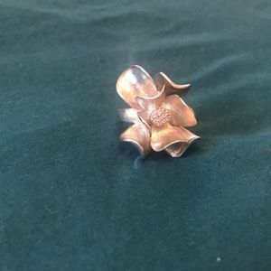 Silver Magnolia Flower Ring